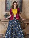 image of Embroidery Work Designer Art Silk Fabric Navy Blue Color Wedding Wear Lehenga