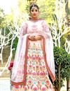 photo of Peach Art Silk Fabric Reception Wear Lehenga Choli With Embroidery Work