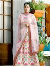 image of Peach Art Silk Fabric Reception Wear Lehenga Choli With Embroidery Work