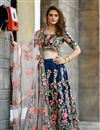 image of Navy Blue Designer Bridal Lehenga With Embroidery Work On Art Silk Fabric