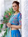 photo of Velvet Fabric Sangeet Wear Lehenga With Embroidery Work In Sky Blue