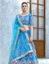 image of Embroidered Velvet Fabric Party Wear Lehenga In Sky Blue With Ravishing Blouse