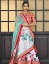 image of Embroidery Work On Wedding Wear Bridal Lehenga In Pink Art Silk Fabric With Blouse
