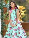image of Occasion Wear Sea Green Designer Fancy Art Silk Gown For Girls