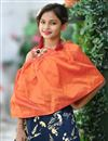 photo of Gleaming Navy Blue And Orange Party Style Girls Wear Gown In Art Silk