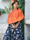 image of Gleaming Navy Blue And Orange Party Style Girls Wear Gown In Art Silk