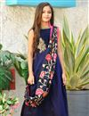image of Art Silk Fabulous Navy Blue Designer Occasion Wear Gown For Girls