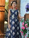 image of Navy Blue Beguiling Designer Jacquard Silk Girls Wear Gown