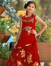 image of Taffeta Silk Fabulous Red Designer Occasion Wear Gown For Girls