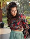 photo of Exclusive Sea Green Color Fancy Fabric Party Wear Indo Western Top And Printed Skirt