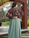 picture of Exclusive Sea Green Color Fancy Fabric Party Wear Indo Western Top And Printed Skirt
