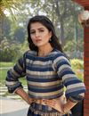 photo of Exclusive Navy Blue Color Function Wear Designer Indo Western Top And Printed Skirt