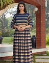 image of Exclusive Navy Blue Color Function Wear Designer Indo Western Top And Printed Skirt