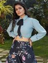 photo of Exclusive Black Color Crepe Silk Fabric Indo Western Top And Printed Skirt