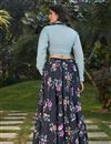 picture of Exclusive Black Color Crepe Silk Fabric Indo Western Top And Printed Skirt