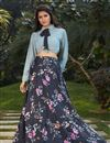 image of Exclusive Black Color Crepe Silk Fabric Indo Western Top And Printed Skirt