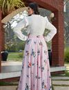 picture of Exclusive Pink Color Crepe Silk Fabric Party Wear Indo Western Top And Printed Skirt