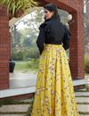 picture of Exclusive Yellow Color Crepe Silk Party Wear Indo Western Top And Printed Skirt