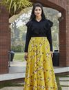 image of Exclusive Yellow Color Crepe Silk Party Wear Indo Western Top And Printed Skirt