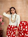 photo of Exclusive Red Color Party Wear Indo Western Top And Printed Skirt