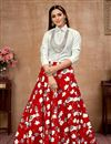 image of Exclusive Red Color Party Wear Indo Western Top And Printed Skirt