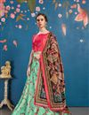 image of Digital Print Art Silk Fabric Wedding Lehenga In Sea Green Color with Designer Choli