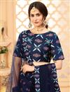 photo of Art Silk Fabric Printed Festive Wear Trendy Lehenga Choli In Navy Blue Color