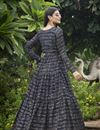 photo of Designer Party Style Georgette Fabric Black Color Printed Readymade Gown