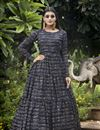 image of Designer Party Style Georgette Fabric Black Color Printed Readymade Gown