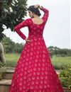 photo of Party Style Dark Pink Color Designer Printed Readymade Gown In Georgette Fabric