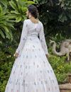photo of White Color Cotton Fabric Embroidery Work Party Wear Fancy Readymade Long Gown