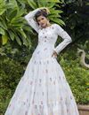 image of White Color Cotton Fabric Embroidery Work Party Wear Fancy Readymade Long Gown