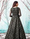 picture of Georgette Fabric Party Wear Fancy Work Black Color Gown
