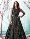 image of Georgette Fabric Party Wear Fancy Work Black Color Gown
