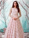 image of Georgette Fabric Party Wear Fancy Work Gown In Pink Color