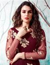 photo of Net Fabric Maroon Color Party Wear Fancy Work Gown