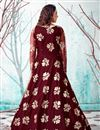 picture of Net Fabric Maroon Color Party Wear Fancy Work Gown