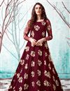 image of Net Fabric Maroon Color Party Wear Fancy Work Gown