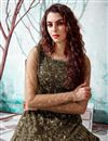 photo of Georgette Fabric Party Wear Mehendi Green Color Fancy Work Gown