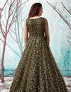 picture of Georgette Fabric Party Wear Mehendi Green Color Fancy Work Gown