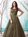 image of Georgette Fabric Party Wear Mehendi Green Color Fancy Work Gown
