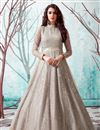 image of Designer Party Style Net Fabric Cream Color Gown