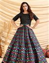 image of Designer Party Style Art Silk Fabric Black Color Gown