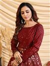 picture of Party Style Maroon Color Designer Gown In Art Silk Fabric