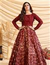 image of Party Style Maroon Color Designer Gown In Art Silk Fabric