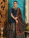 image of Art Silk Fancy Navy Blue Party Wear Designer Gown With Printed Dupatta