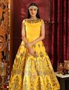 image of Yellow Party Style Designer Gown In Art Silk