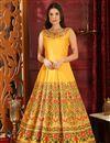 image of Designer Party Wear Art Silk Fancy Yellow Gown