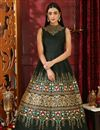 image of Art Silk Party Style Designer Black Gown
