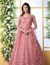 image of Designer Pink Color Party Wear Readymade Gown In Net Fabric